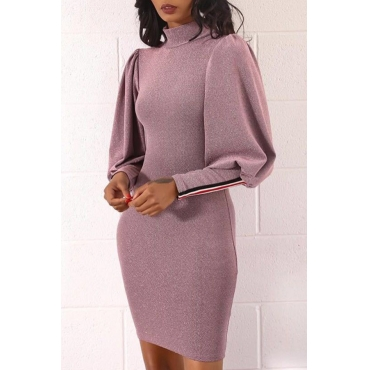 Lovely Trendy Puffed Sleeves Pink Mini Dress