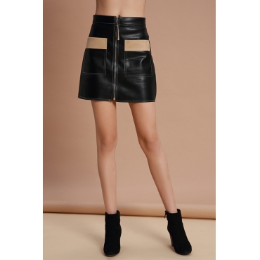 Lovely Trendy Parchwork Black PU Mini Skirts