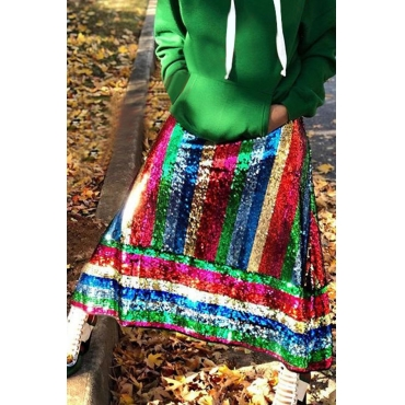Lovely Trendy Patchwork Red Sequined Ankle Length Skirts