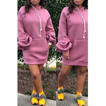 Lovely Trendy Hooded Collar Pink Mini Dress
