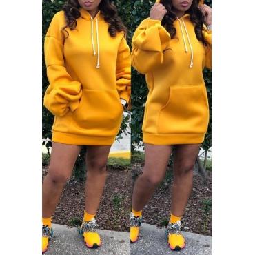 Lovely Trendy Hooded Collar Yellow Mini Dress