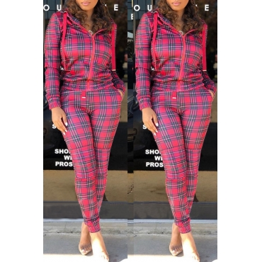 Lovely Casual Grids Printed  Rose Red Twilled Satin Two-piece Pants Set