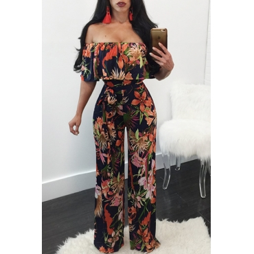 Lovely Stylish Dew Shoulder Floral Print Qmilch One-piece Jumpsuits