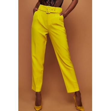 Lovely Trendy Straight Yellow Blending Pants(With Belt)