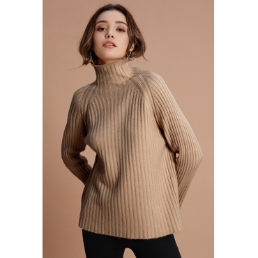 Lovely Casual Long Sleeves Khaki Sweaters