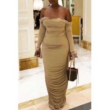 Lovely Elegant Dew Shoulder Khaki Floor Length Dress