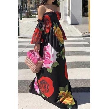 Lovely Bohemian Dew Shoulder Black Floor Length Dress
