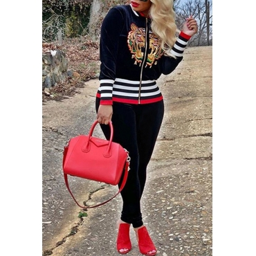 Lovely Casual Embroidery Black Pleuche Two-piece Pants Set