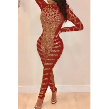 Lovely Trendy Hot Drilling Decorative Red Knitting One-piece  Jumpsuit
