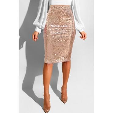 Lovely Trendy Skinny Apricot Sequined Knee Length Skirts
