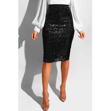 Lovely Trendy Skinny Black Sequined Knee Length Skirts