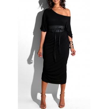 Lovely Casual Loose Black Mid Calf  Dress(Without Belt)