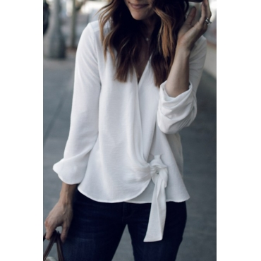 Lovely Casual Knot Design White Chiffon Blouses