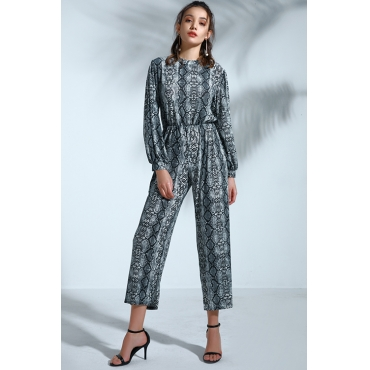 Lovely Casual Snakeskin Printed  Knitting One-piece Jumpsuit