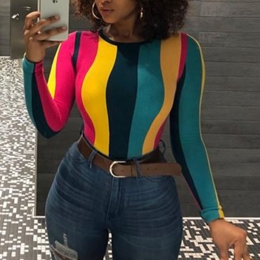 Lovely Casual Striped Multicolor Blending T-shirt