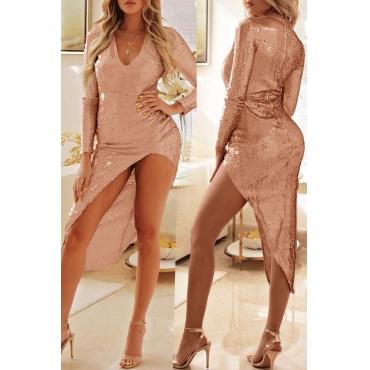 Lovely Sexy Asymmetrical Light Pink Knee Length Dress