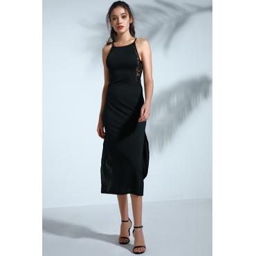 Lovely Vintage Slit Black Mid Calf Dress