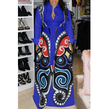 Lovely Casual Printed Royal Blue Floor Length Dress