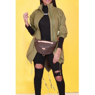 Lovely Casual Long Sleeves Army Green Blending Jacket