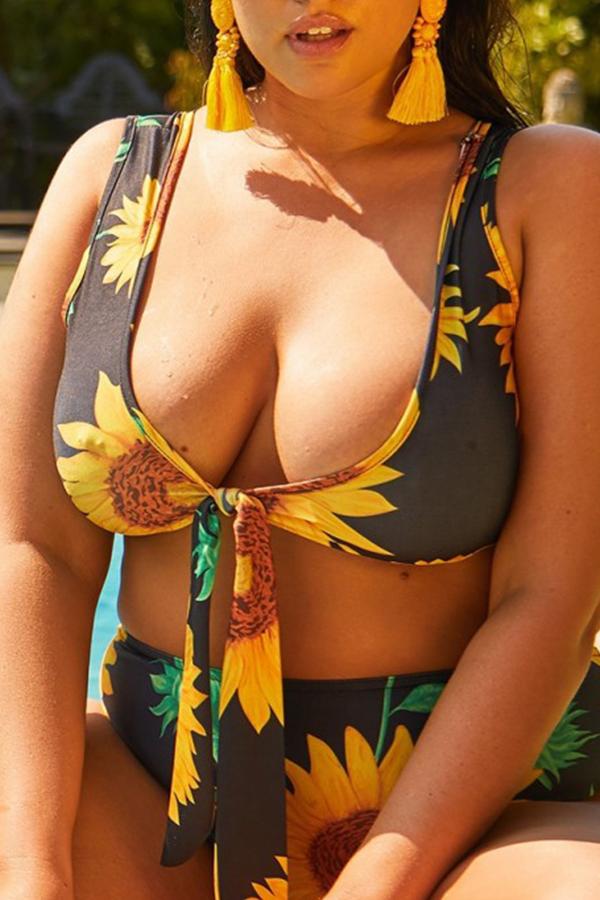 Lovely Sexy Floral Printed Plus-size Black  Bikinis