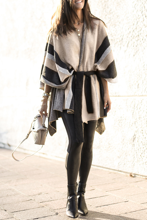 Lovely Casual Lace-up Khaki Cardigan Sweaters