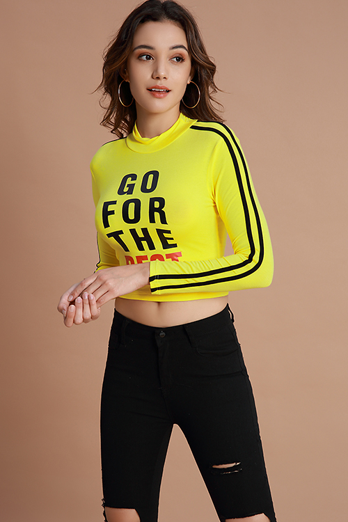 Lovely Casual Letters Printed Yellow Cotton Base Layers
