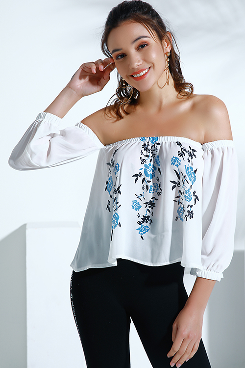 Lovely Trendy Dew Shoulder White Chiffon Shirts