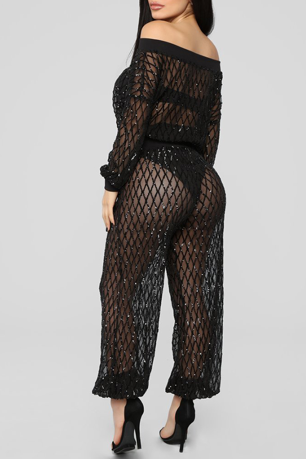 Lovely Sexy Hollowed-out Black Two-piece Pants Set(Without Underclothes)