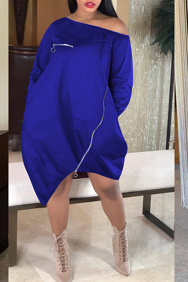 Lovely Casual Loose Blue Knee Length Dress