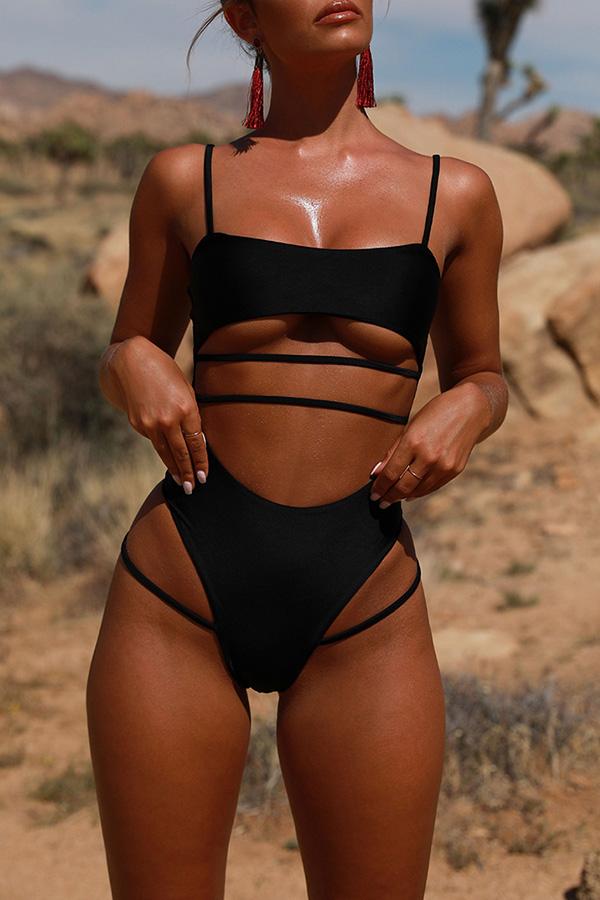 Lovely Trendy Hollowed-out Black One-piece Swimwear