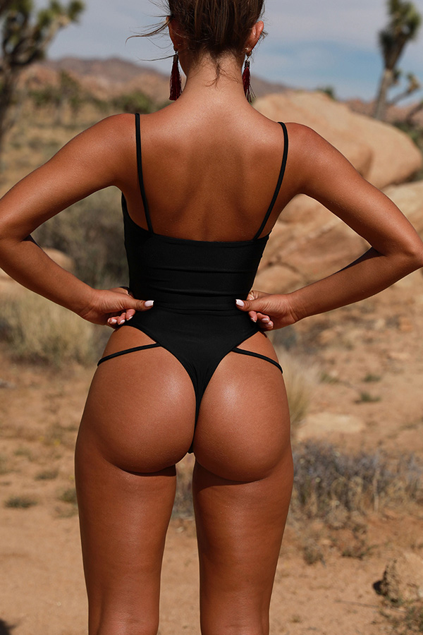 Lovely Trendy Hollowed-out Black One-piece Swimwear