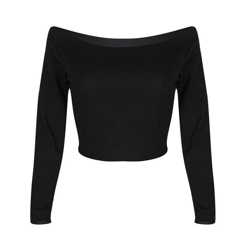 Lovely Casual Dew Shoulder Black T-shirt