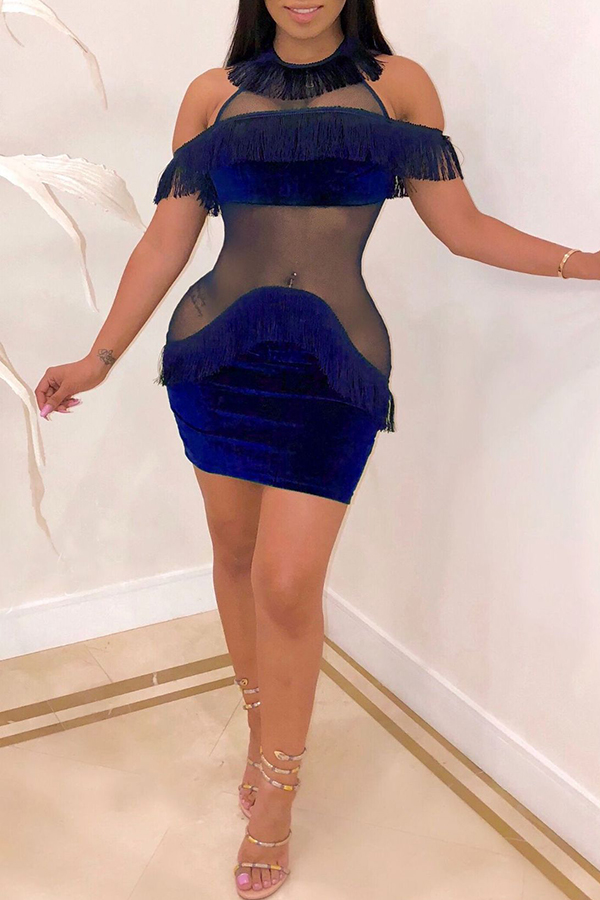 Lovely Sexy See-through Patchwork Blue Mini  Dress