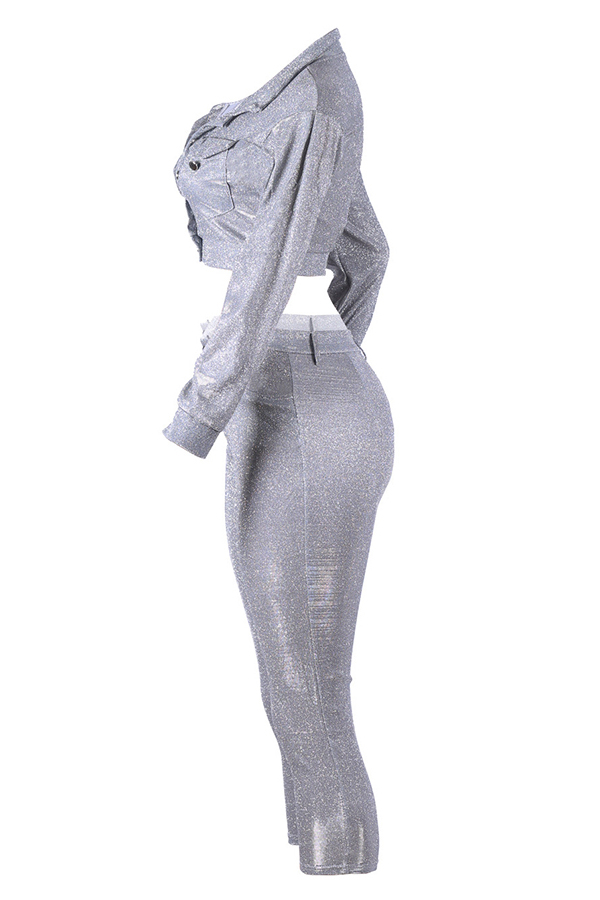 Lovely Trendy Buttons Design Silver Two-piece Pants Set