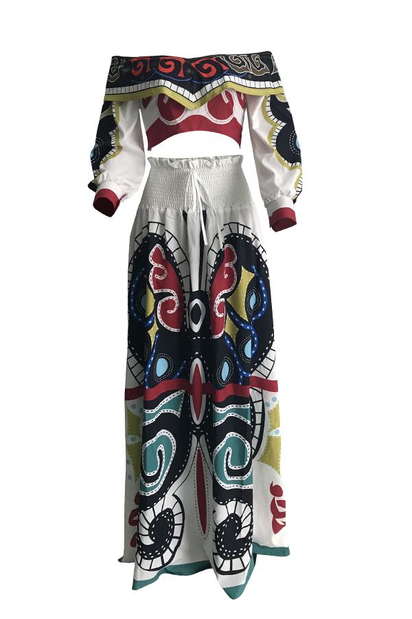 Precioso Conjunto De Falda De Dos Piezas Blanca Suelta Impresa A La Moda.