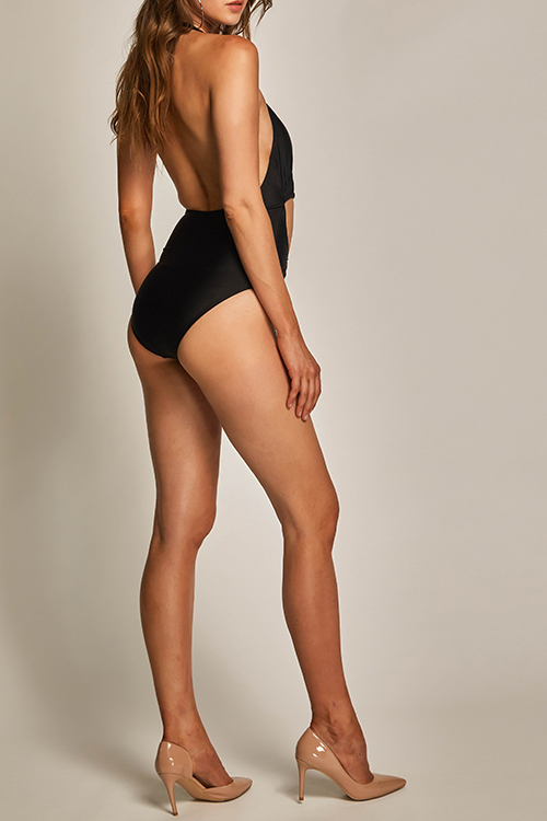 Lovely Trendy Hollow-out Black Spandex One-piece Swimwears