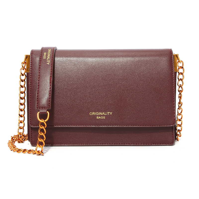 Lovely Trendy Metal Chain Strap Red Crossbody Bag