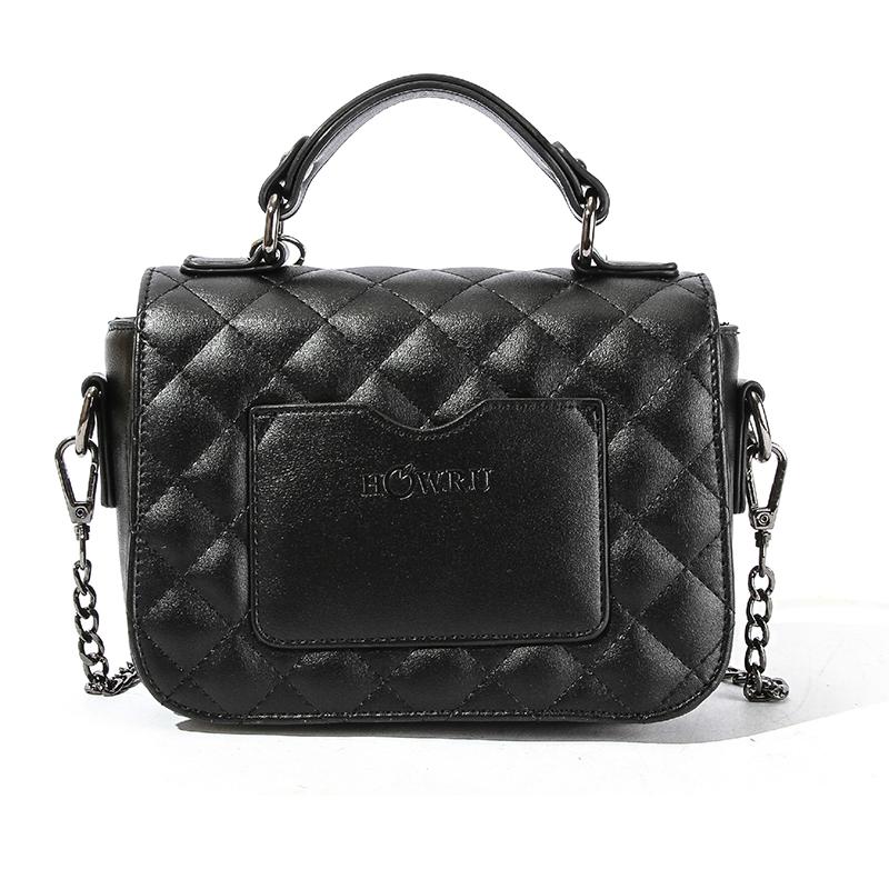 Lovely Trendy Metal Chain Strap Black Crossbody Bag