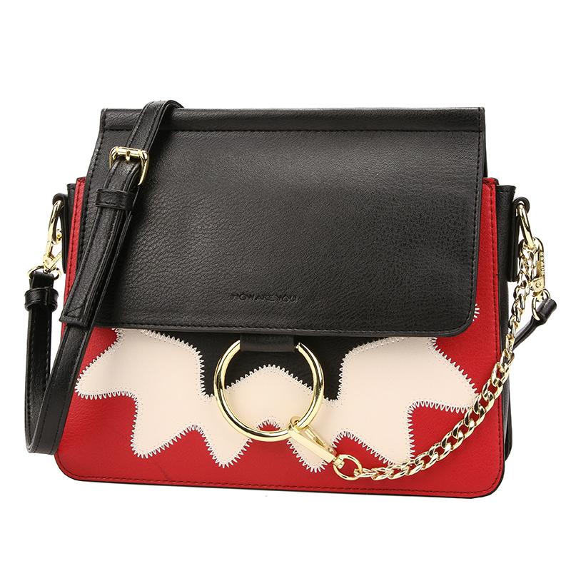 Lovely Trendy Patchwork Black Crossbody Bag