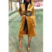 Lovely Casual Long Sleeves Yellow Velvet Coat