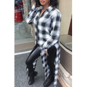 Lovely Trendy Grids Printed Black And White Shirts