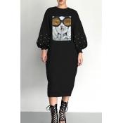 Lovely Trendy Printed Black Mid Calf Dress