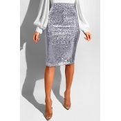 Lovely Trendy Skinny Silver Sequined Knee Length S