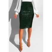 Lovely Trendy Skinny Blackish Green Sequined Knee Length Skirts