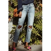 Denim Encantador Casual Sólido Mediados Cremallera Volar Jeans
