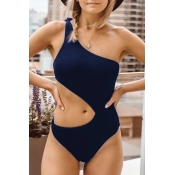 Lovely Casual Hollowed-out Dark Blue One-piece Swi