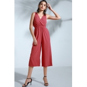 Lovely Trendy Loose Watermelon Red One-piece Jumps