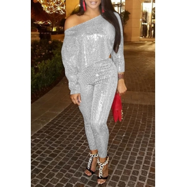 Lovely Casual Dew Shoulder Silver Sequined Two-piece Pants Set