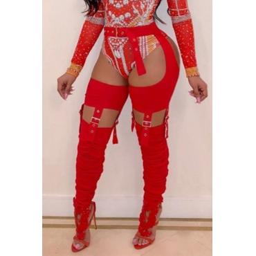 Pantalones De Mezcla Rojos Ahuecados De Moda Encantadores