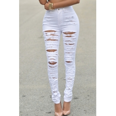 Lovely Trendy Broken Holes White Denim Jeans
